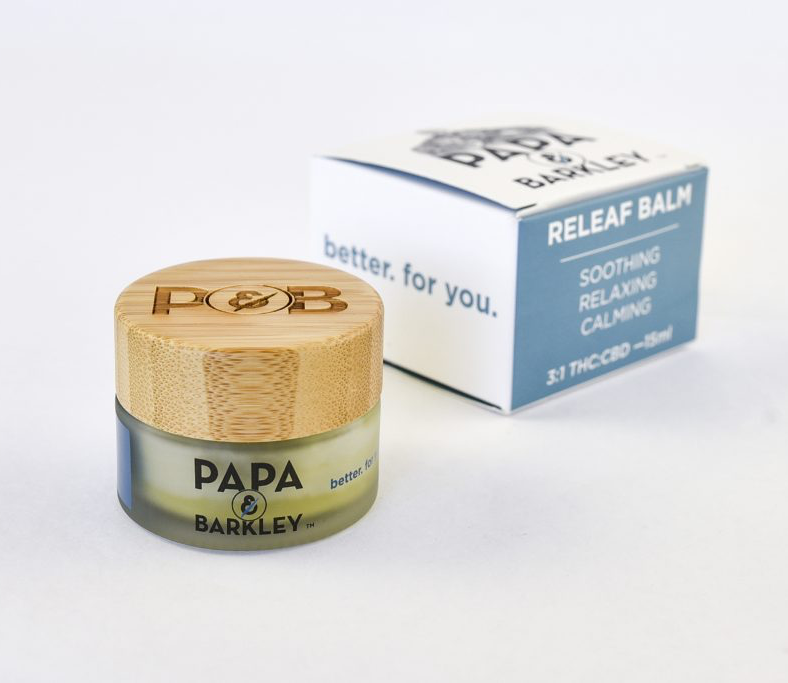 Weekend Box with Papa and Barkley in Los Angeles, California offer ReLeaf Pain Relief THC and CBD Balm. Now in California Weekend Cannabis Gift Boxes.